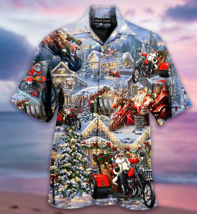 Santa's Biker Short Sleeve Hawaiian Shirt
