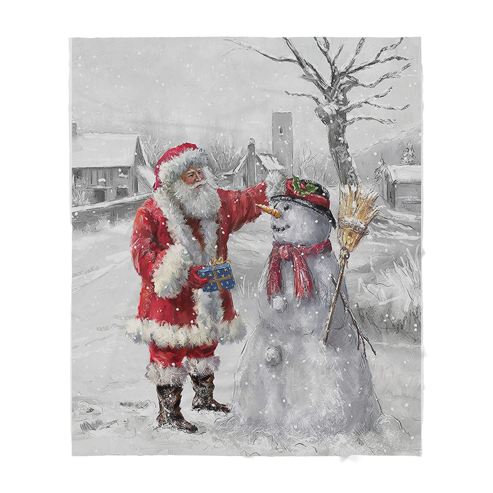 Santa Claus and Frosty - Sherpa Blanket