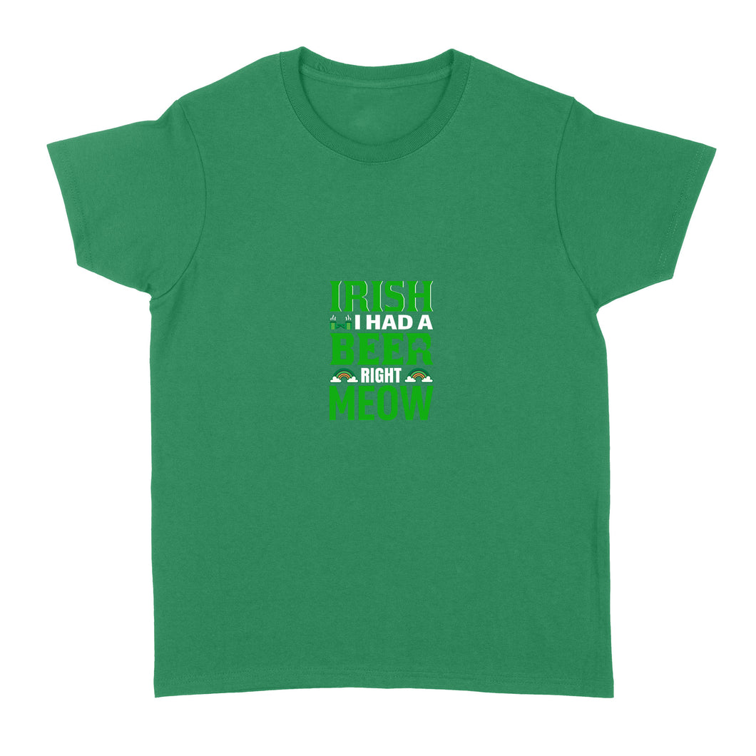 Irish Beer Meow Standard Women T-shirt, 2021 Trending Saint Patrick's Day Tee Shirt