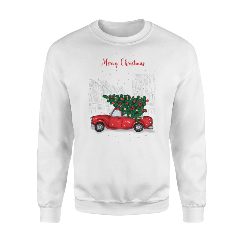 Red Car Merry Christmas- Standard Crew Neck Sweatshirt
