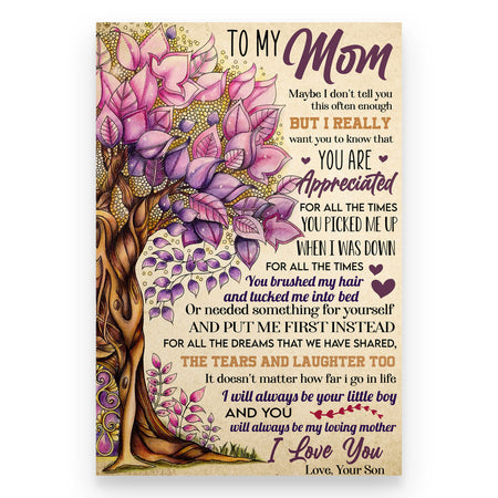 Vertical Poster To My Mom You are appreciated, Son To Mom Gifts Ideas for Mother's Day, Mom Birthday