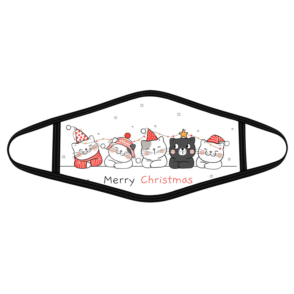 Kitten Merry Christmas - Polyblend Face Mask