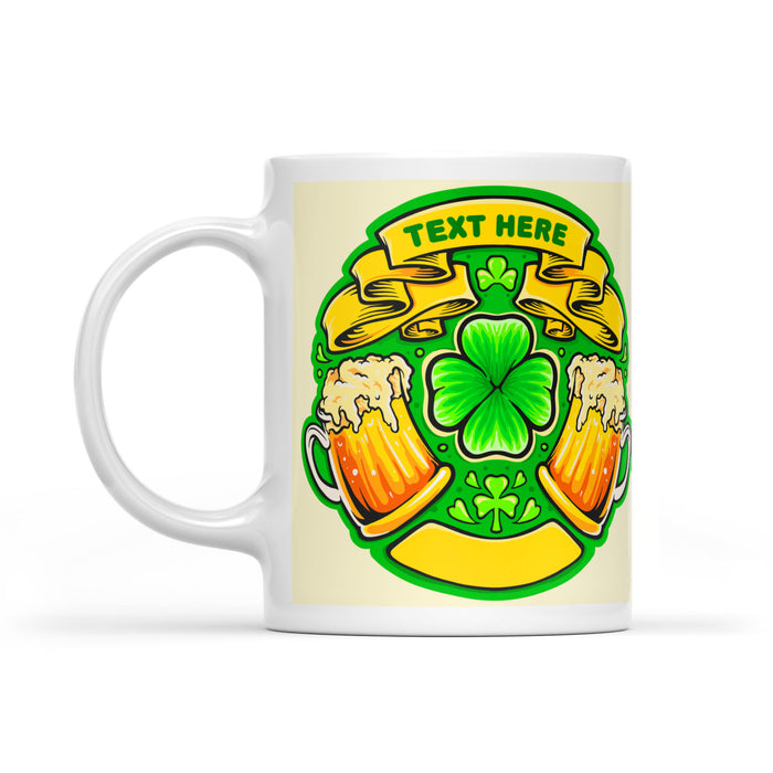 Customize Lucky Shamrock Beer White Mug