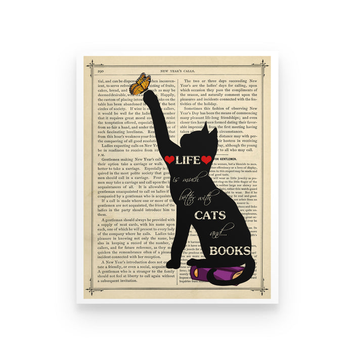 Life Is Much Better With Cats & Books  - Poster