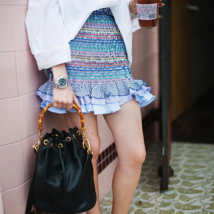 High Waist Rainbow Striped Print Short Skirts