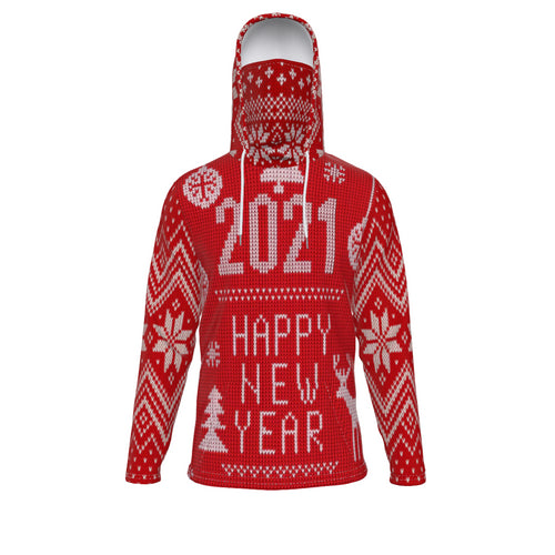 Merry Christmas & HPNY Unisex pullover hoodie with mask