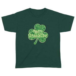 Happy Saint Patrick's Day In Clover Shape  Standard Youth T-shirt, 2021 Trending St. Patrick's Day Tee Shirt