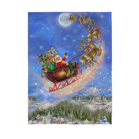 Santa Claus and Reindeer Flying - Sherpa Blanket