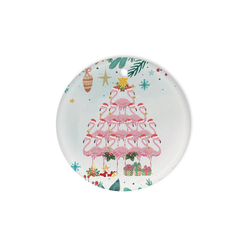 Flamingo Christmas Tree - Circle Ornament (1 sided)