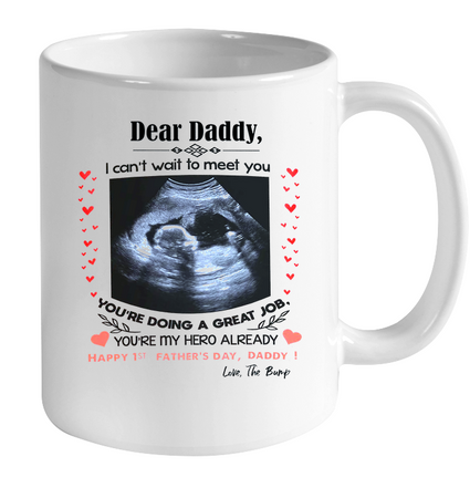 Personalized happy 1st fathers day from the bump mug - Gift for dad Gsge
