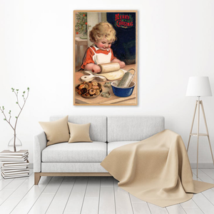 Vintage little girl baking cookies - Matte Canvas
