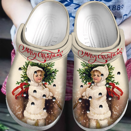 Little Girl In X-Mas Slippers