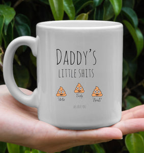 Daddy Gift Personalized, Daddy's Little Shits, Dad Funny Mug Customizable, Father's Day Gift, Gift For Daddy, Birthday Present For Father
