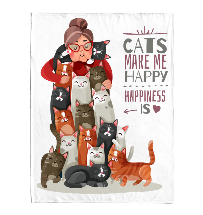 Cats make me Happy - Blanket, totes bag