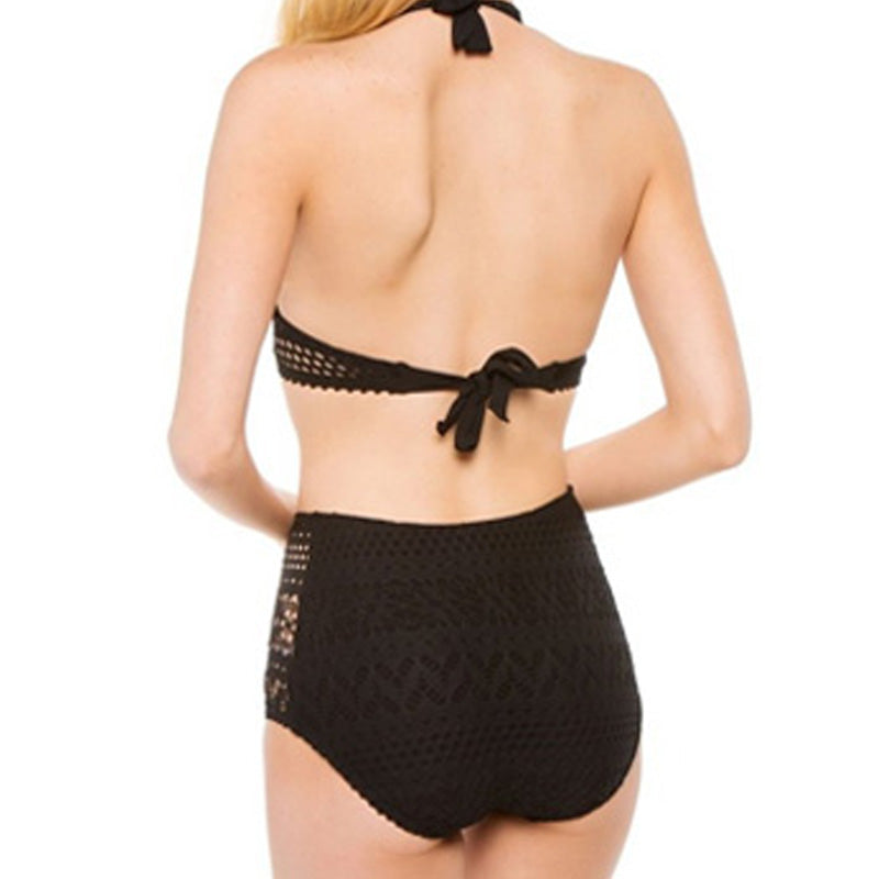 Black Crochet Bikinis High Waisted Padded Push Up Sexy Suit