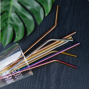 100pcs/set Eco Friendly Metal Straw Reusable 304 Stainless Steel