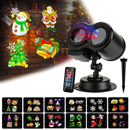 12 Slides Pattern Christmas Projector Light Outdoor