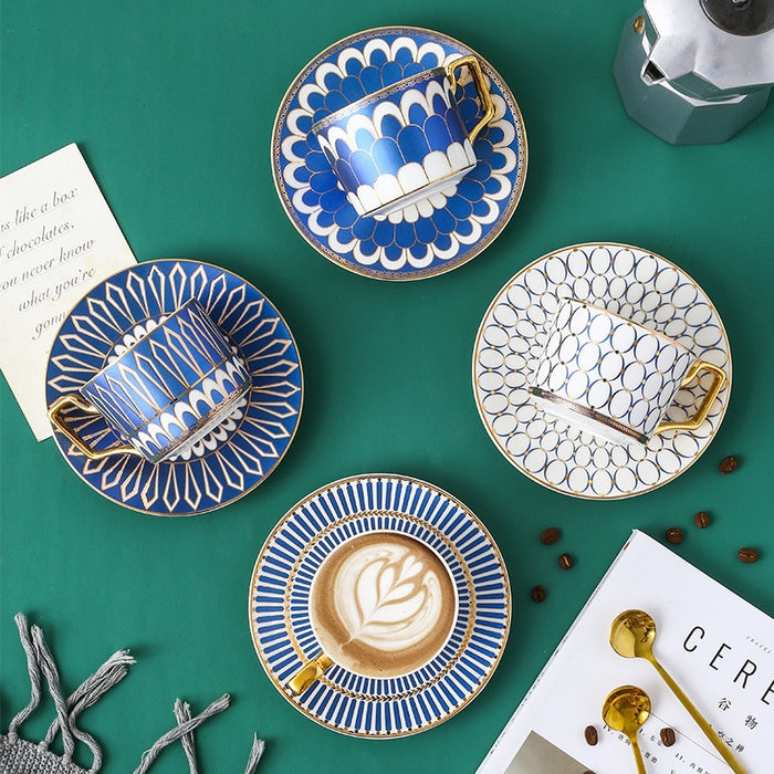 Luxury Moroccan,British Style  Coffee Cup and Saucer Set with Gold Handel Ceramic
