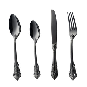 24pcs Vintage  Engraving Handle Silver Cutlery Set