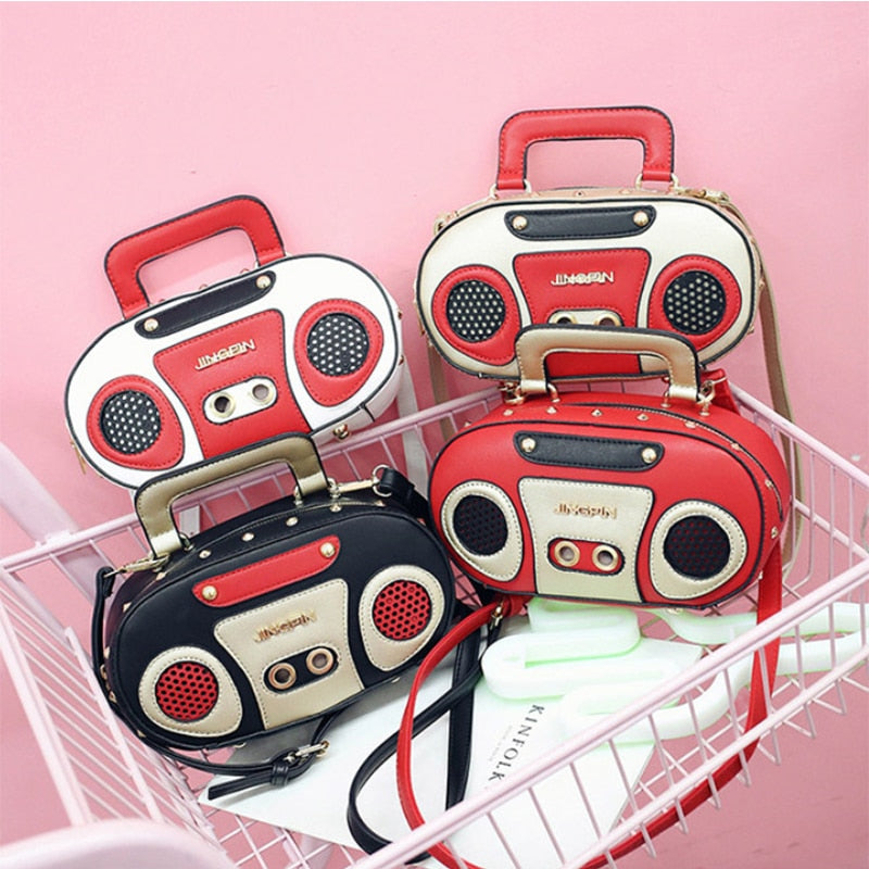Vintage Radio Women Handbags Designer Chic Shoulder Bags