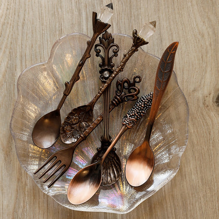 6pcs Vintage Spoons Fork Mini Set Royal Style