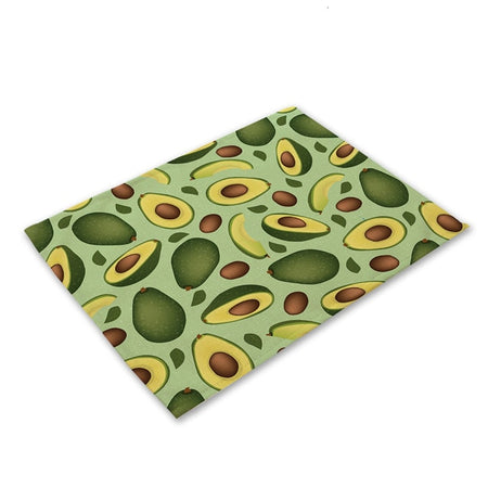 1pc Avocado Cotton Linen Dining Table Mats