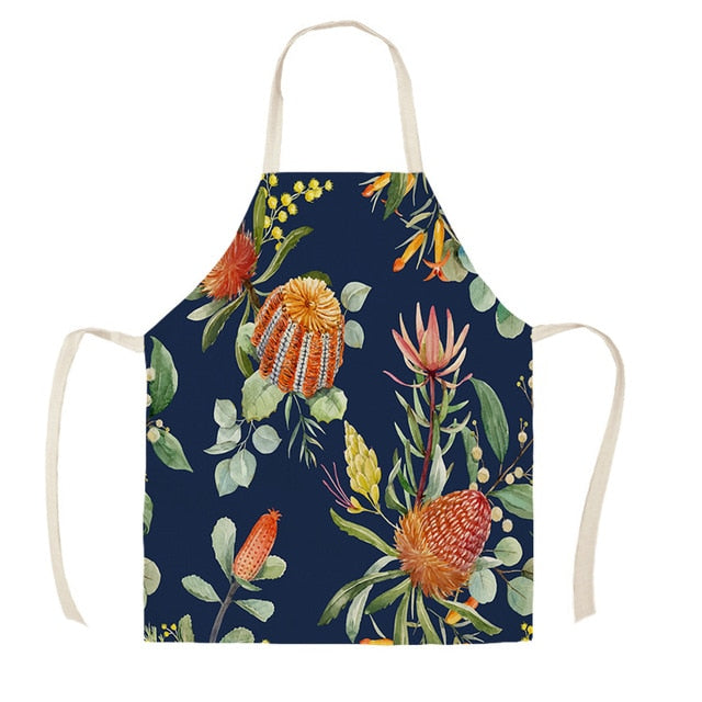 Linen Tropical Leaf Printed Kitchen Aprons