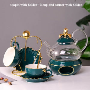 Luxury Ceramic Tea Pot Lid Base Candle Holder Set
