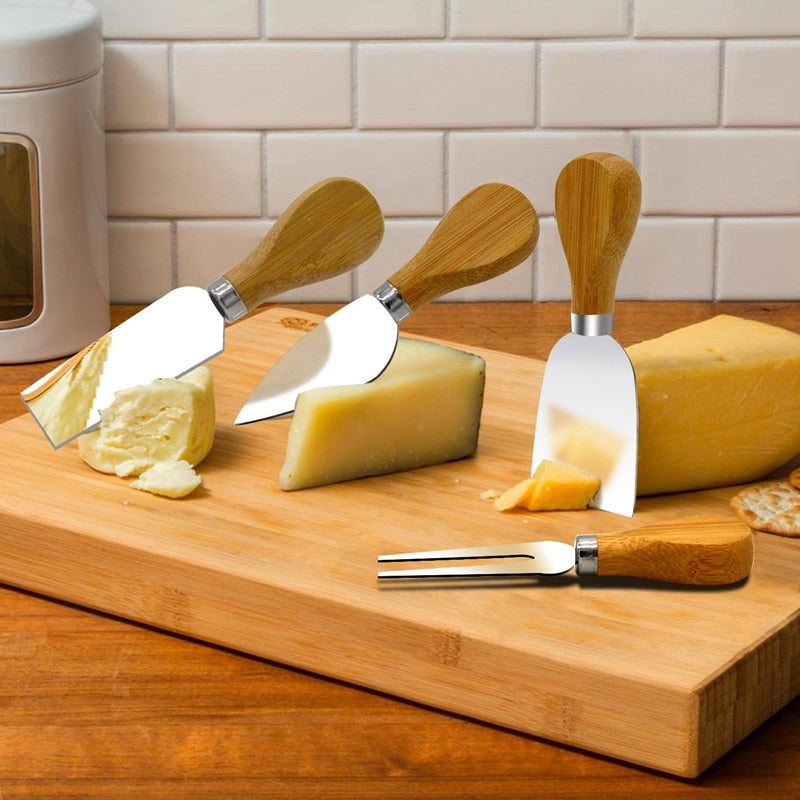 4 Cheese Slicer Mini Knives Set Wood Handle