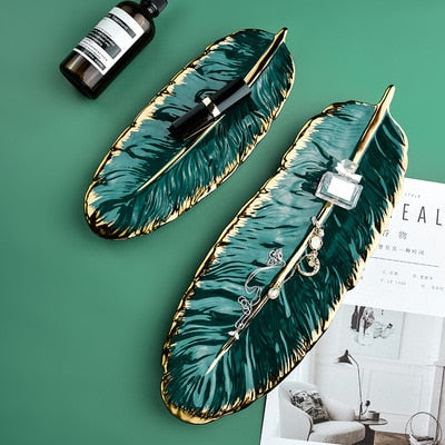Luxury Ceramic Platter Storage Tray with Glod Rim Green Leaf Glod Feather