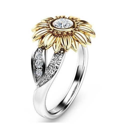 Sunflower Silver Ring Two Tone