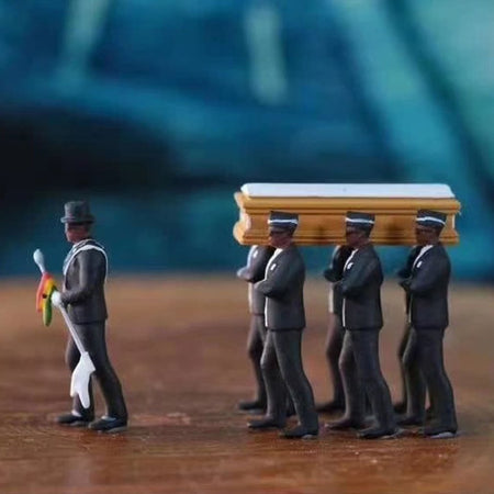 1Set PVC Black Man Lift The Coffins Garage Kit Collection Figure