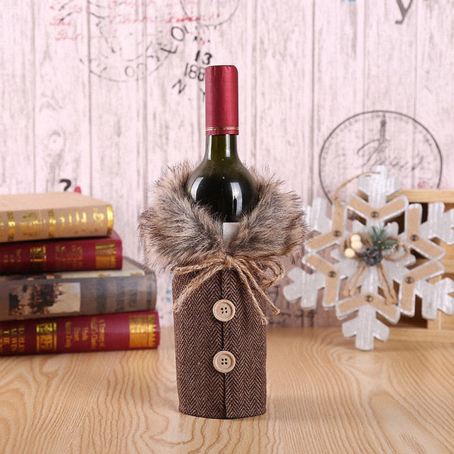 Wine Bottle Cover For Christmas Decoration