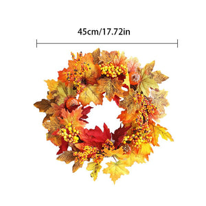 Pumpkin Berry Decoration Maple Garland Rattan Artificial Fall Wreath