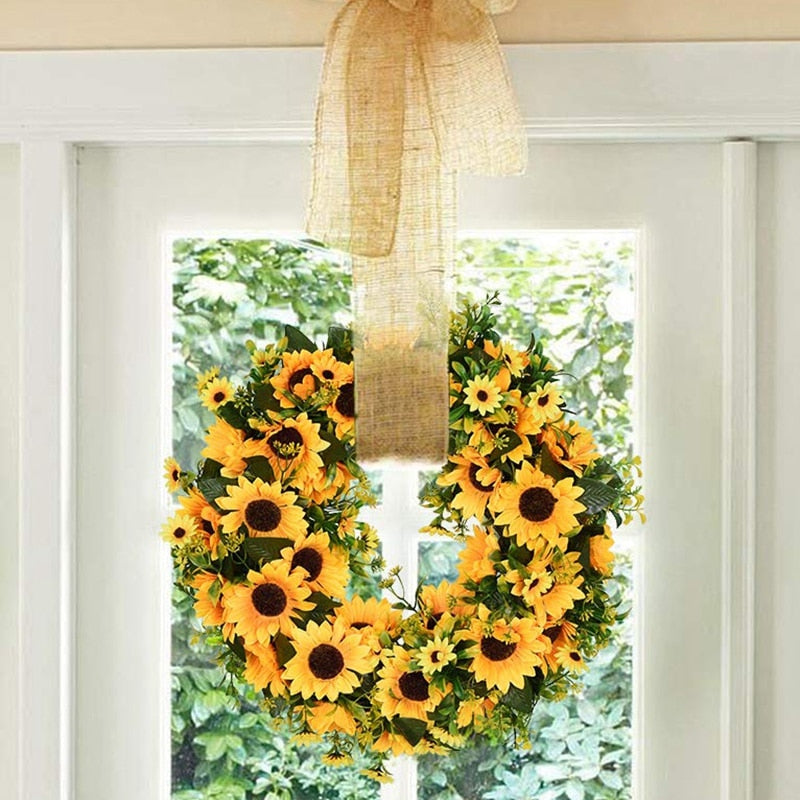Artificial Sunflower Summer Wreath