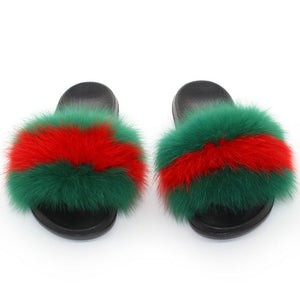 Real Fox Fur Fluffy Slides