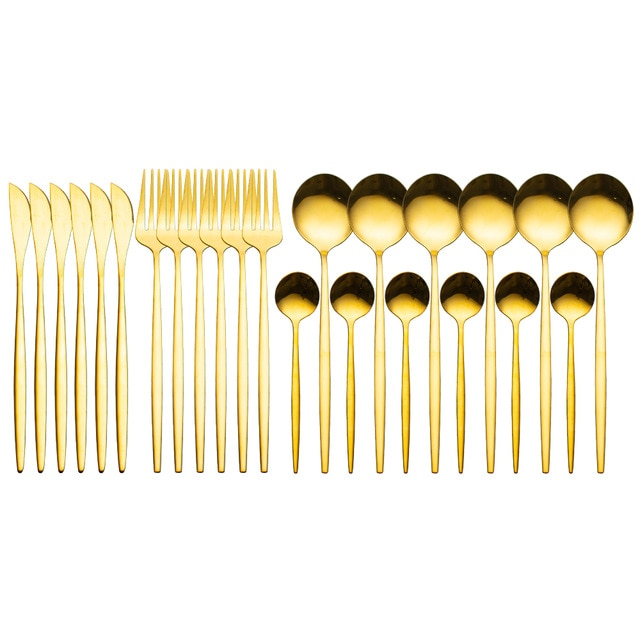 24pcs Luxury Gold Dinnerware Cutlery Set Stainless Steel
