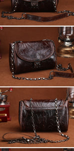Vintage Oil Wax Genuine Leather Embossed Small Bags