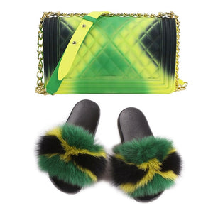 SIZE 6 - Fluffy Fur Slippers & Jelly Crossbody Bag Set