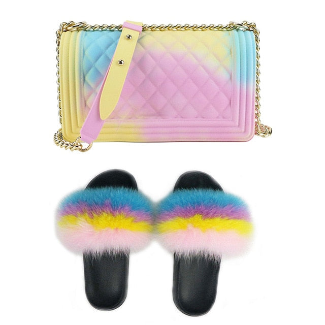 SIZE 7 - Fluffy Fur Slippers & Jelly Crossbody Bag Set