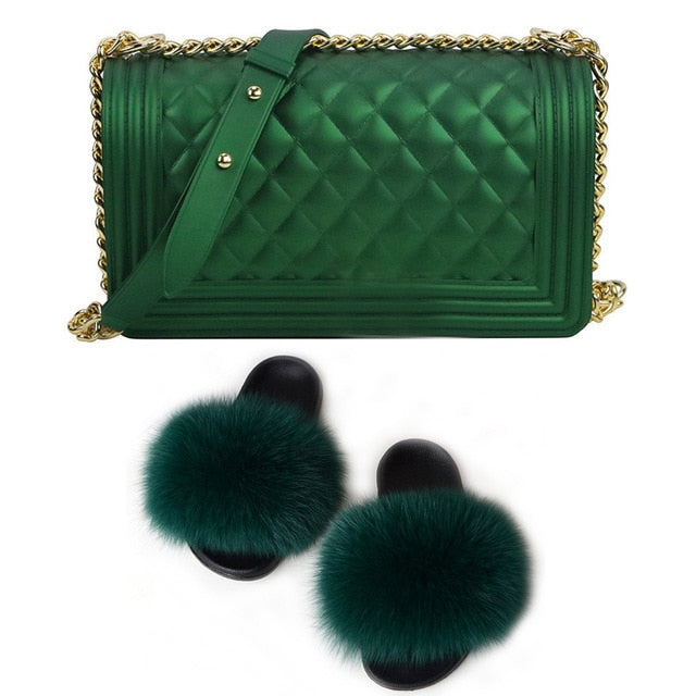 SIZE 8 - Fluffy Fur Slippers & Jelly Crossbody Bag Set