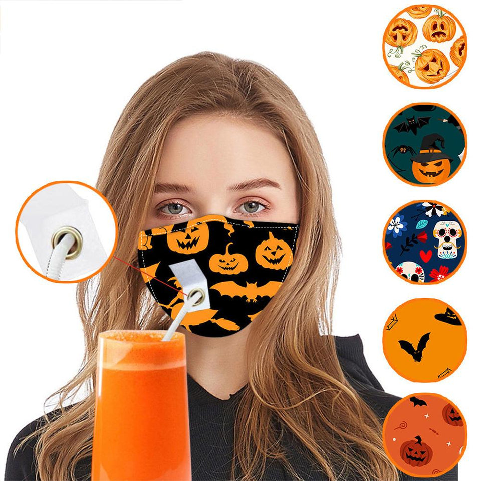 2020 Halloween Ornament Mask With Straw Hole