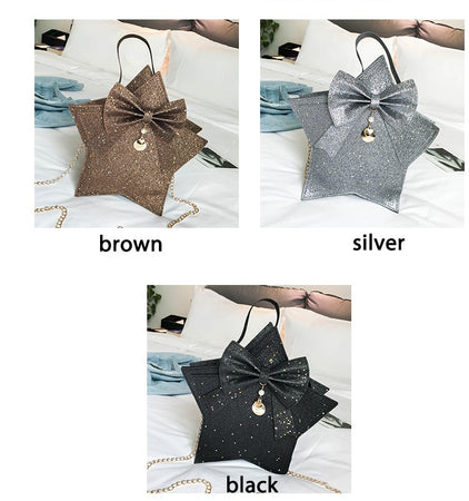 Bling Bling Bow sequins star shape women shoulder bags