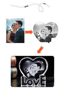Customized Crystal Photo Frame LED Base Laser Engraved Picture