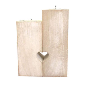 Wooden Candlestick Holder For Daughter Heart-shaped