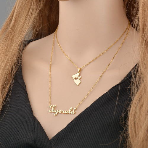 Custom Double Layer Name Necklace For Female