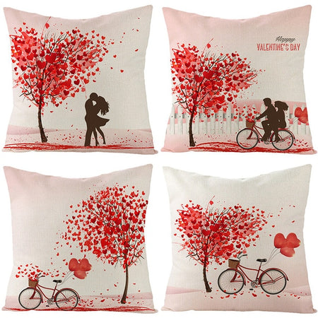 4pcs Valentine's Day Linen Pillowcase Decorative