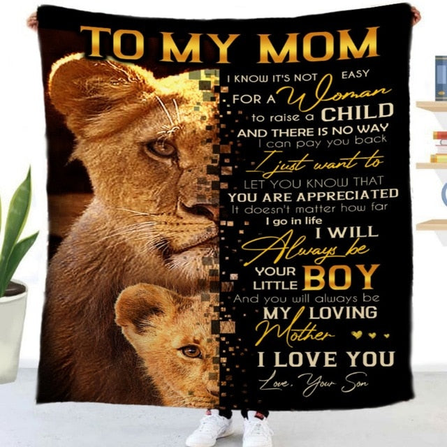 Lion Daughter Son Mom Dad Letter - Fleece Blanket