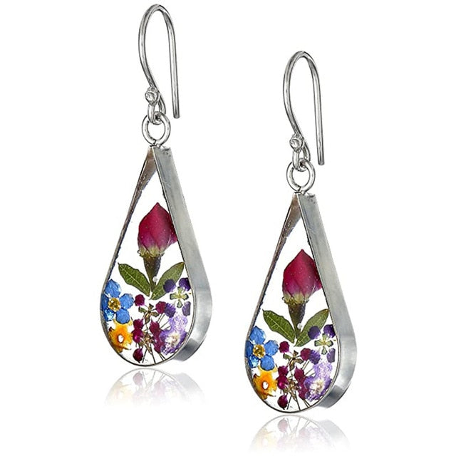 Pressed Flower Water Drop Earrings for Women Gift