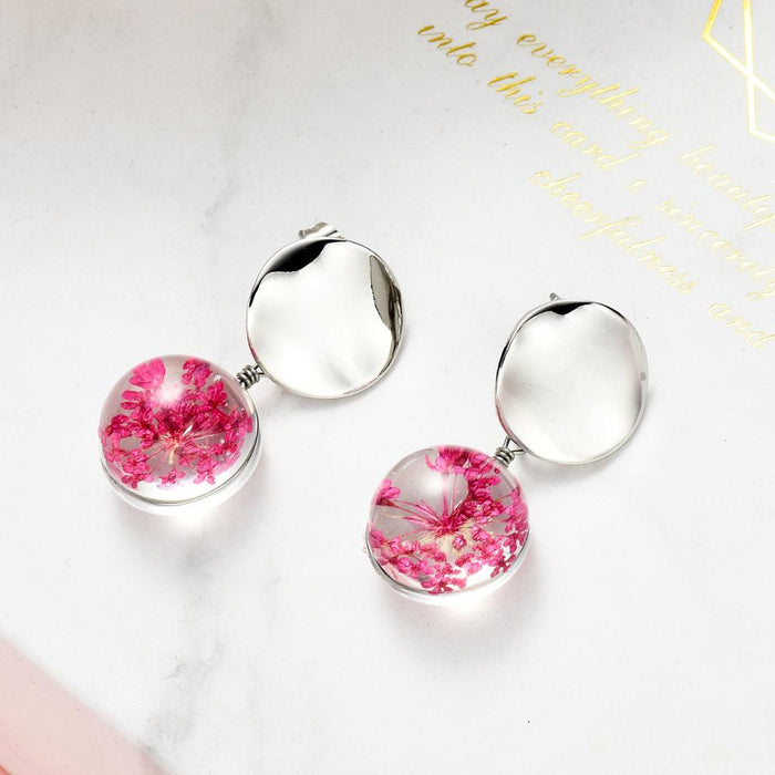 Creative Dried Flowers Assimetric Earrings for Women Plant Dry Cherry Blossoms Glass Ball Pressed Flower Dangle Earings Jewelry